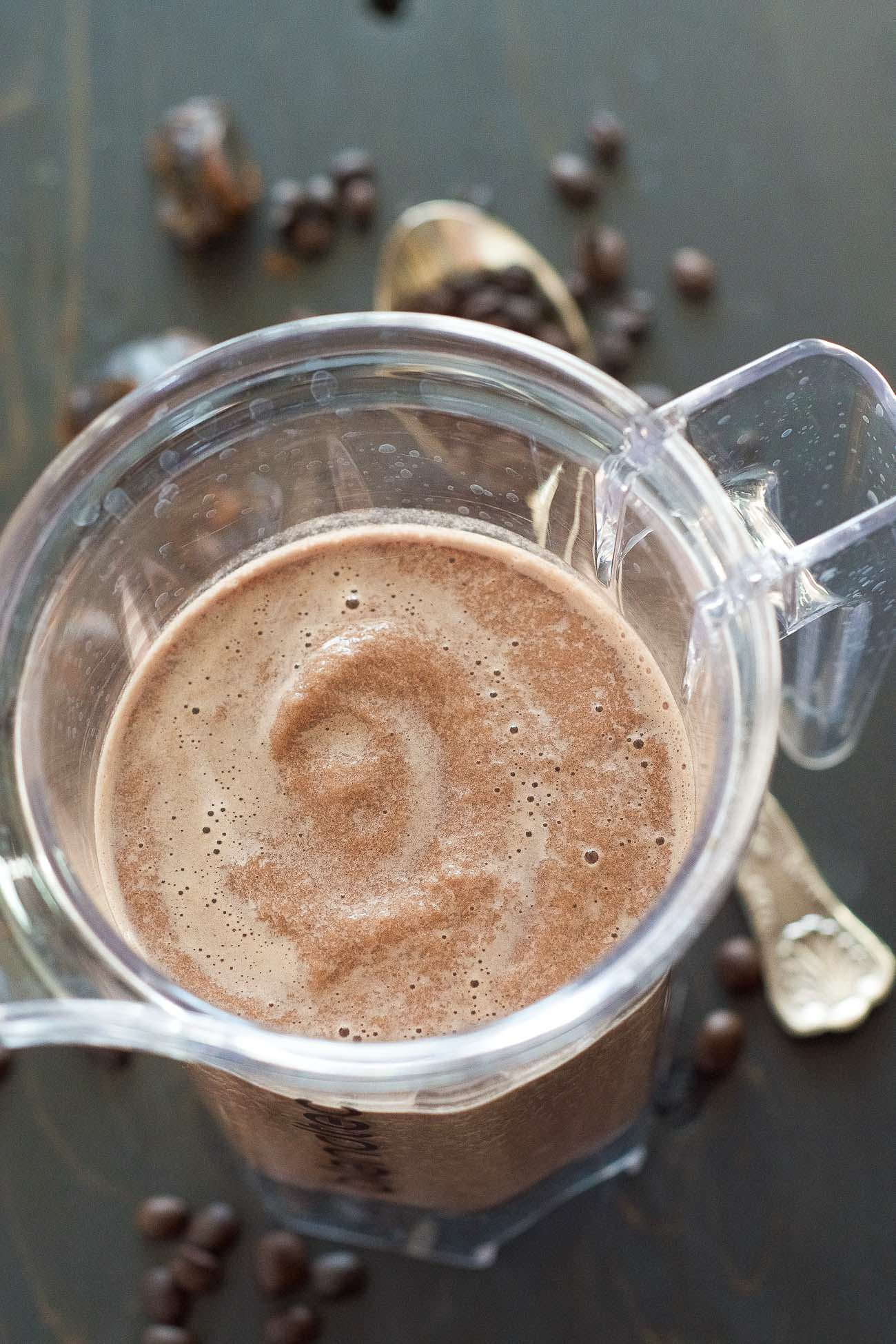 This Healthy Salted Caramel Mocha Smoothie is a delicious way to start your day! Flavors of coffee, rich chocolate and salty caramel all come together in a secretly healthy beverage!