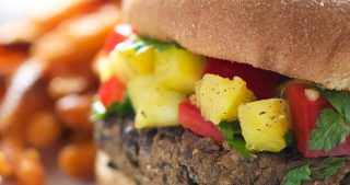 20 Minute Black Bean Burgers with Pineapple Salsa