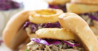 Brown Sugar Pulled Chicken Sandwiches with Honey Mustard
