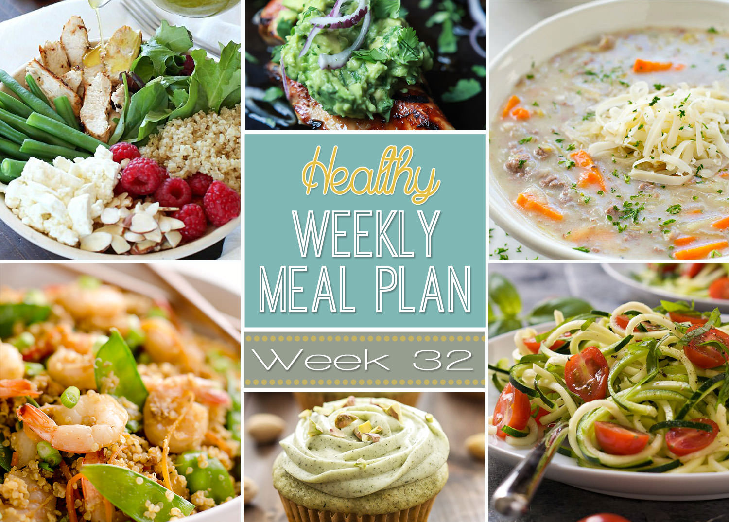 Week 32 is filled with fresh dishes like Zucchini Caprese Salad, Lighter Cheeseburger Soup and Green Tea Cupcakes for that sweet tooth!