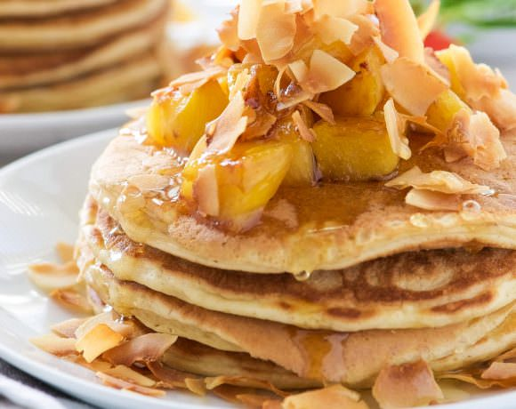 Honey Pineapple and Toasted Coconut Pancakes