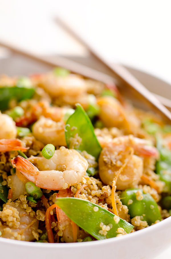Light Shrimp Fried Quinoa is a healthy 30-minute dinner full of protein packed quinoa and shrimp then finished off with delicious Kikkoman soy sauce