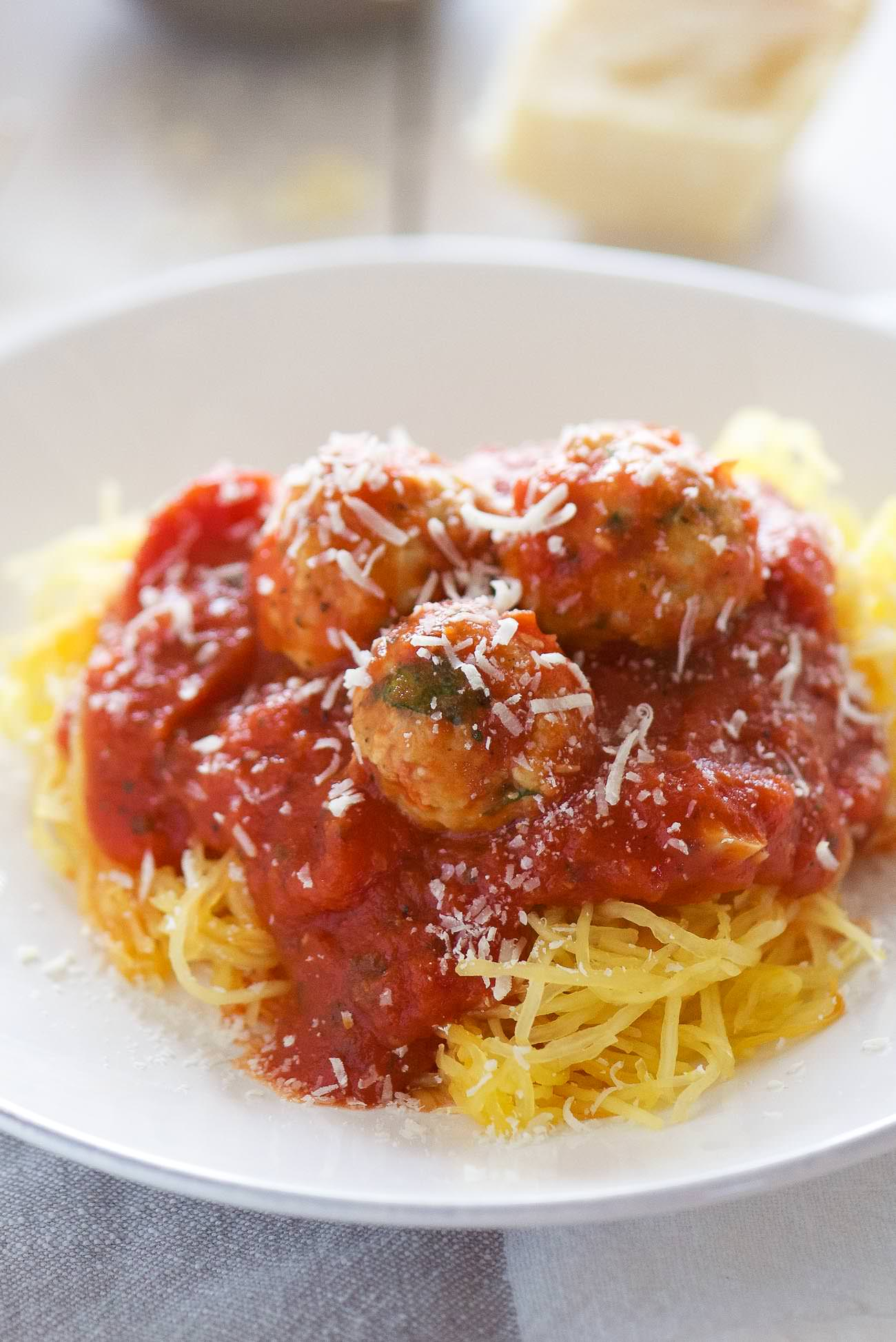 Skinny Sun Dried Tomato Meatballs with Spaghetti Squash are a light ...