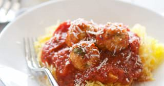 Skinny Sun Dried Tomato Meatballs with Spaghetti Squash