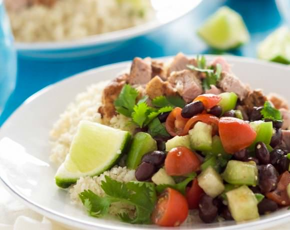 Chipotle Pork Carnita Burrito Bowls with Cumin Lime Rice