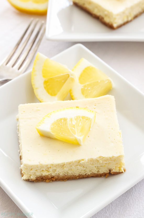 Lightened up, creamy and bursting with fresh lemon flavor, these Greek Yogurt Lemon Cheesecake Bars are the perfect dessert to make this spring!
