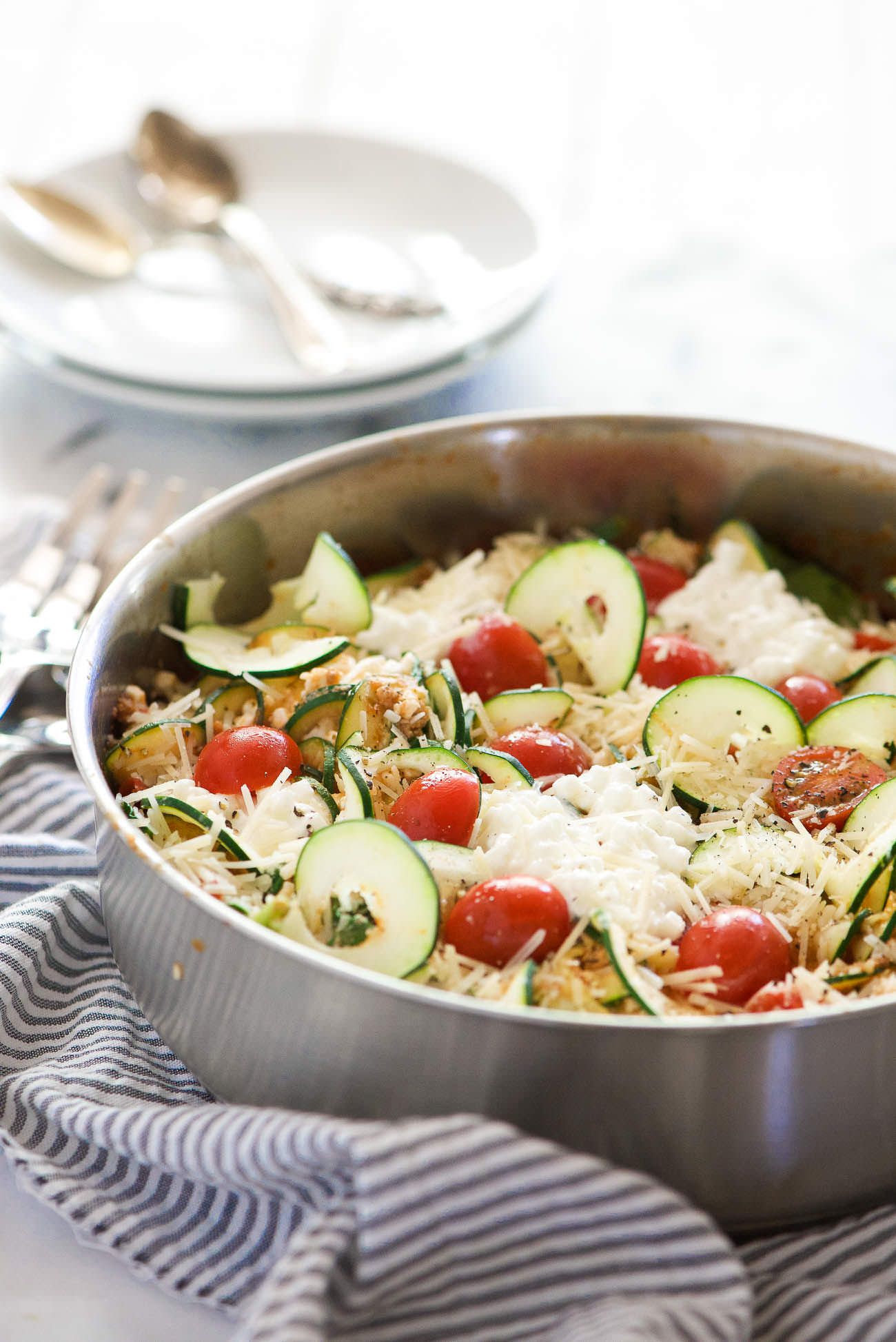 Spinach And Artichoke Skillet Zucchini Lasagna Is A Healthy, Low Carb Take  On Lasagna
