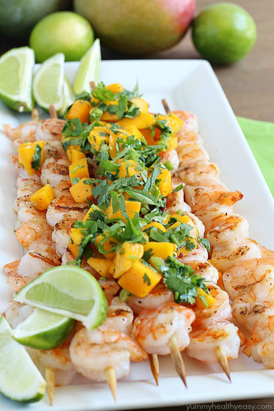 Healthy Grilled Shrimp Skewers with Mango Salsa – an easy and flavorful main dish that's the perfect summertime meal!