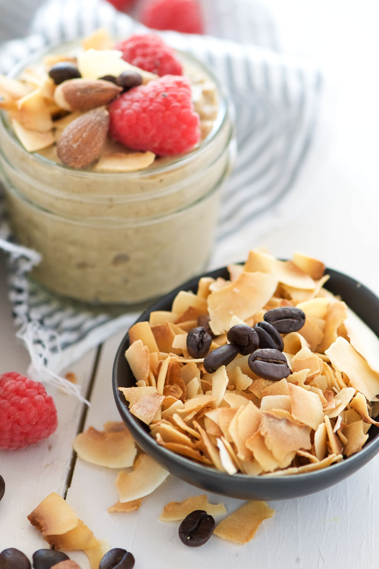 Almond, Coconut & Vanilla Latte Overnight Oats are worth getting out of bed for! They are filled with dreamy vanilla almond butter, toasted coconut and coffee; a breakfast that gets better with time!