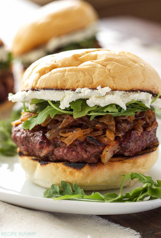 Light up that grill for these Bacon Burgers with Bourbon Caramelized Onions and Goat Cheese! Doesn't get much better than that for a weekend dinner!