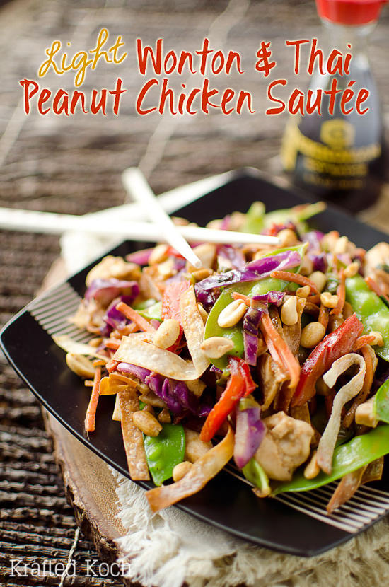Light Wonton & Thai Peanut Chicken Sauté is a healthy and delicious dinner recipe loaded with vegetables, chicken and a spicy Thai peanut and coconut milk sauce.