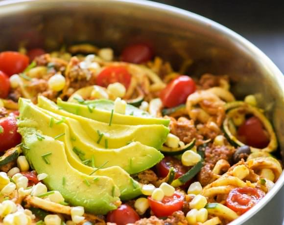 One Pot Cheesy Taco Zucchini Noodles