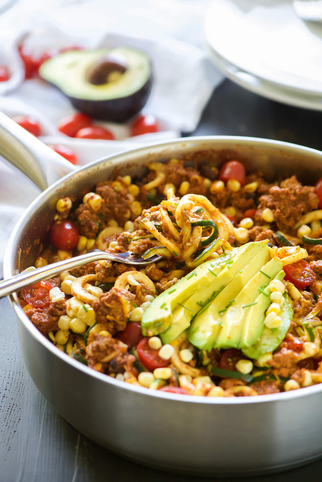 One Pot Cheesy Taco Zucchini Noodle Skillet - With Salt ...