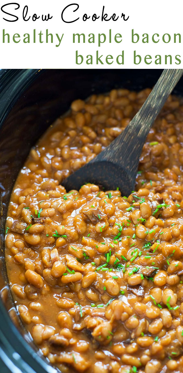 These Slow Cooker Healthy Maple Bacon Baked Beans are a barbeque, get together must have! A healthy twist on the classic bacon baked beans that allows your slow cooker do all the work!