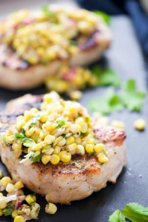 Ranch Pork Chops with Grilled Jalapeno Corn Salsa is the perfect summer dinner! Fresh crisp corn is charred to perfection, mixed with jalapenos for a spicy salsa then served with juicy, grilled ranch pork chops!