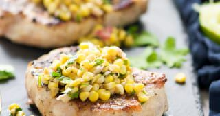 Ranch Pork Chops with Grilled Jalapeno Corn Salsa