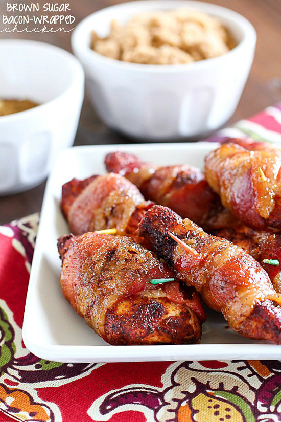 Bacon wrapped chicken rolled in brown sugar and baked! I have no words for how delicious and flavorful these little bites of seasoned chicken are! Tender, scrumptious and oh so easy to make!