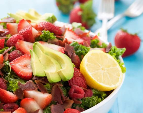 Bacon & Berry Kale Salad with Honey Lemon Vinaigrette