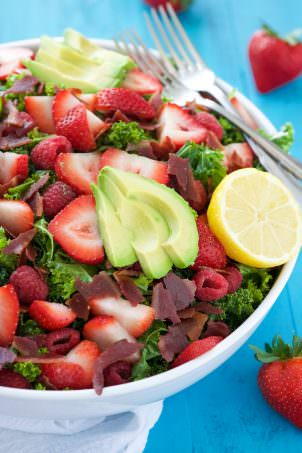 The fruit in this salad are by far what make this salad! Juicy, sweet, and slightly tart berries.  This the one time that less is not more! So feel free to add more than what is called for. I won't tell...