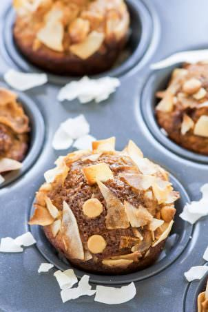 White Chocolate Greek Yogurt Banana Muffins are by far THE best banana muffins I have ever made! These muffins are packed with protein from greek yogurt, naturally sweetened with ripe bananas and filled with mini white chocolate chips!