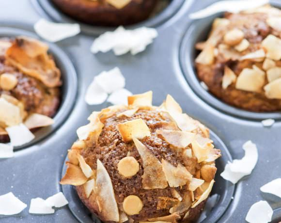 White Chocolate Greek Yogurt Banana Muffins