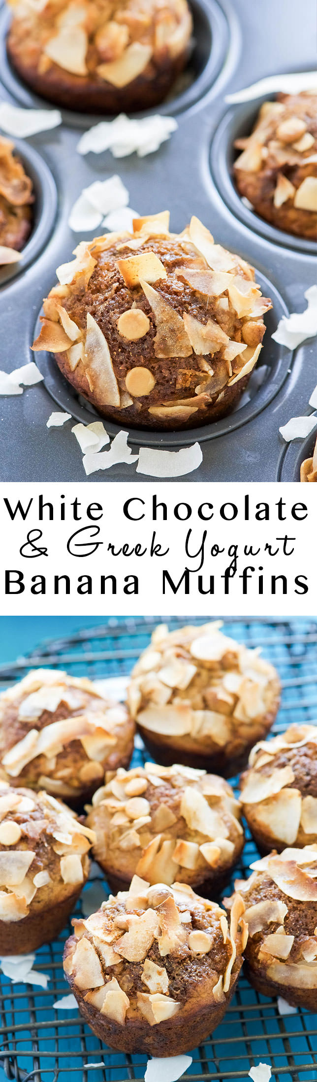 White Chocolate Greek Yogurt Banana Muffins - With Salt and Wit