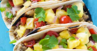 Hawaiian BBQ Pork Tacos with Pineapple Pico de Gallo