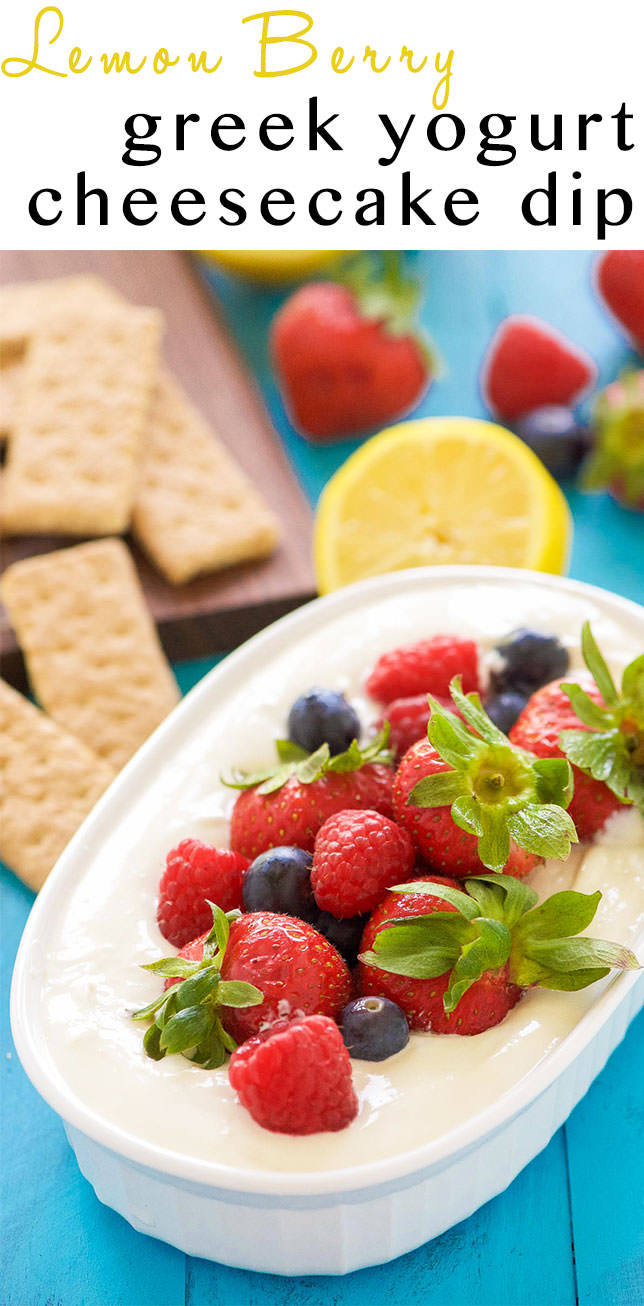 Lemon Berry Cheesecake Dip is the best of both words - dessert and a dip! Luscious, creamy cheesecake dip with a hint of lemon is topped with juicy berries coated in a touch of maple syrup! An irresistible combination that will be the hit of any party!