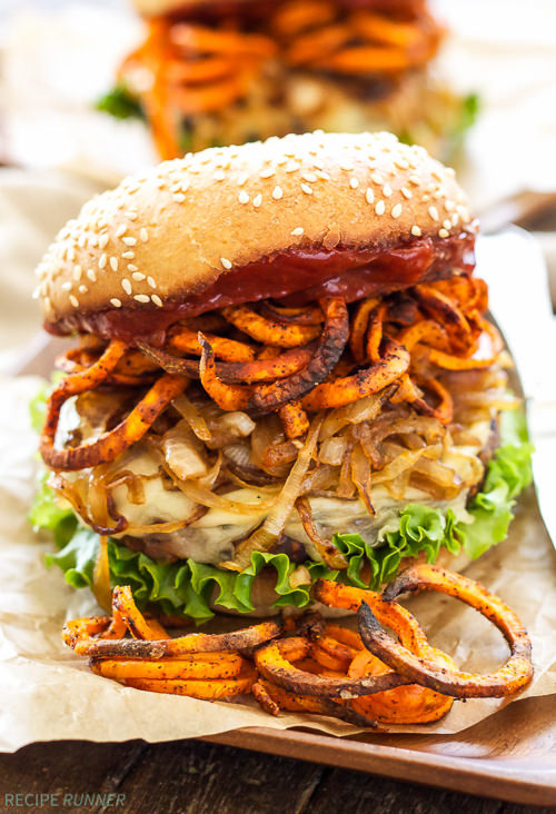 Say goodbye to boring, flavorless veggie burgers and say hello to these amazing Santa Fe Veggie Burgers with Sweet Potato Fries, Caramelized Onions and Chipotle Ketchup! Loaded with so much texture and flavor, you won't even realize they're meatless!