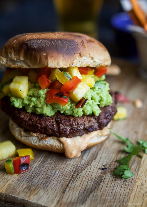 These Smoky Avocado Burgers topped with a Pineapple Pepper Relish don't run short on flavor, they are juicy, tender, mouthwatering basically everything you want in a Burger + more!
