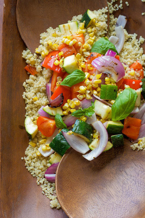 Grilled Summer Vegetable Quinoa Salad with Lemon Basil Vinaigrette | With Salt and Wit