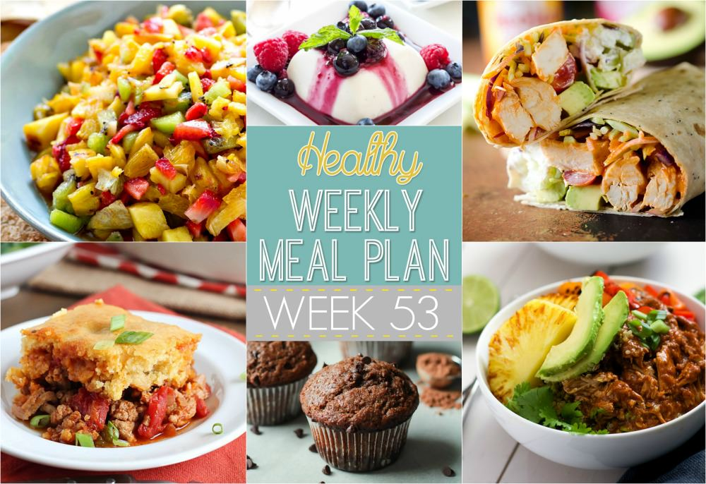Week 53 for our Healthy Meal Plan has flavors from all around the world. We have Tamale Pie, Greek Pasta Salad and Slow Cooker Hawaiian Pork Burrito Bowls!