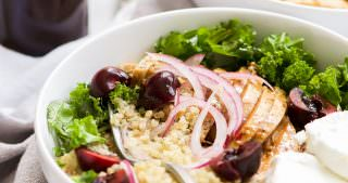 Honey Balsamic Glazed Chicken Quinoa Bowls with Cherries + A Blogging Break