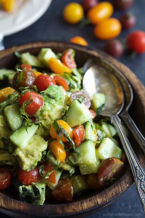 This summer Tomato Avocado Cucumber Salad is pure perfection – light, refreshing, 5 minutes to make, minimal ingredients, low on calories and booming with flavor!