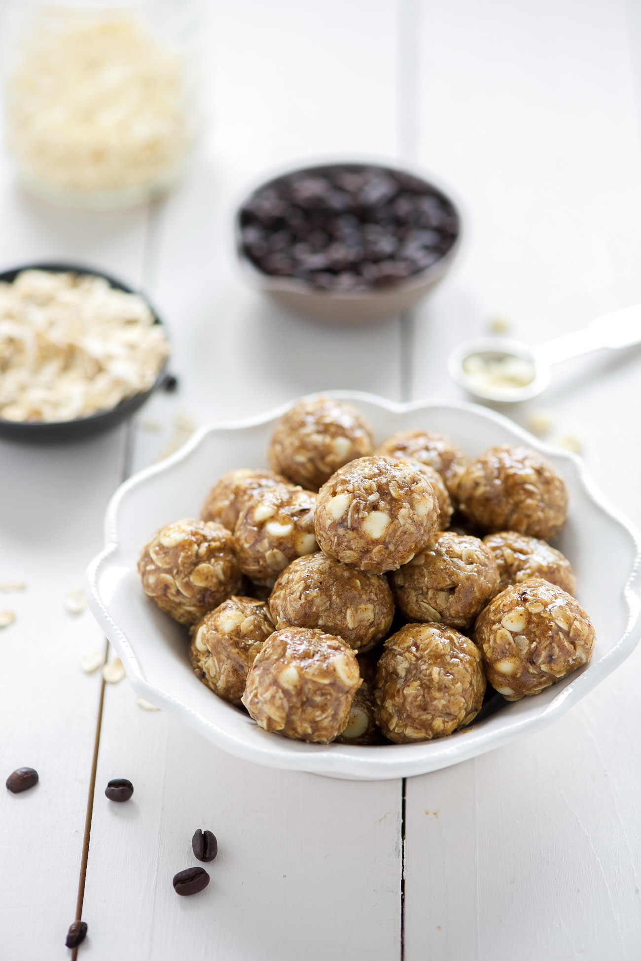 These Vanilla Espresso Almond Butter Energy Bites come in handy when you need more than just a cup of joe in the morning! Filled with hearty oats, almond butter, coffee and white chocolate chips; they are a healthy snack or treat!