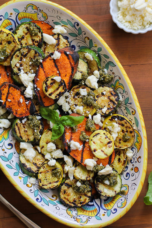 Grilled Sweet Potatoes, Zucchini, and Yellow Squash with Pesto & Feta | The Roasted Root