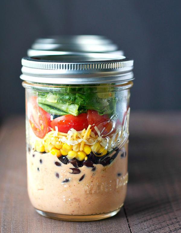 Chicken Taco Mason Jar Salads | The Seasoned Mom