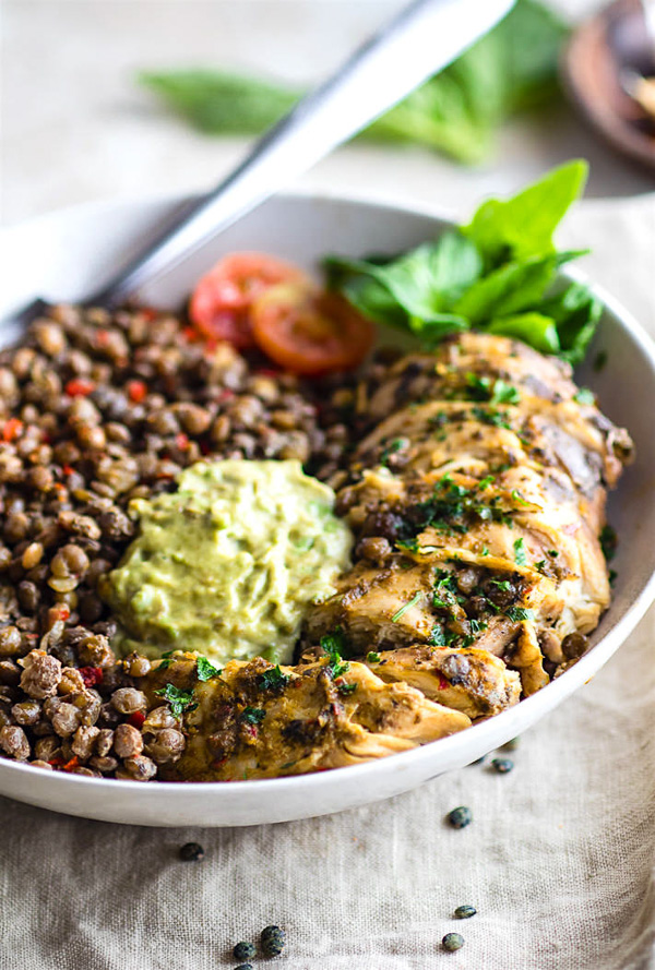 Simple Garlicky Green Crock-Pot Chicken and Lentils | Cotter's Crunch