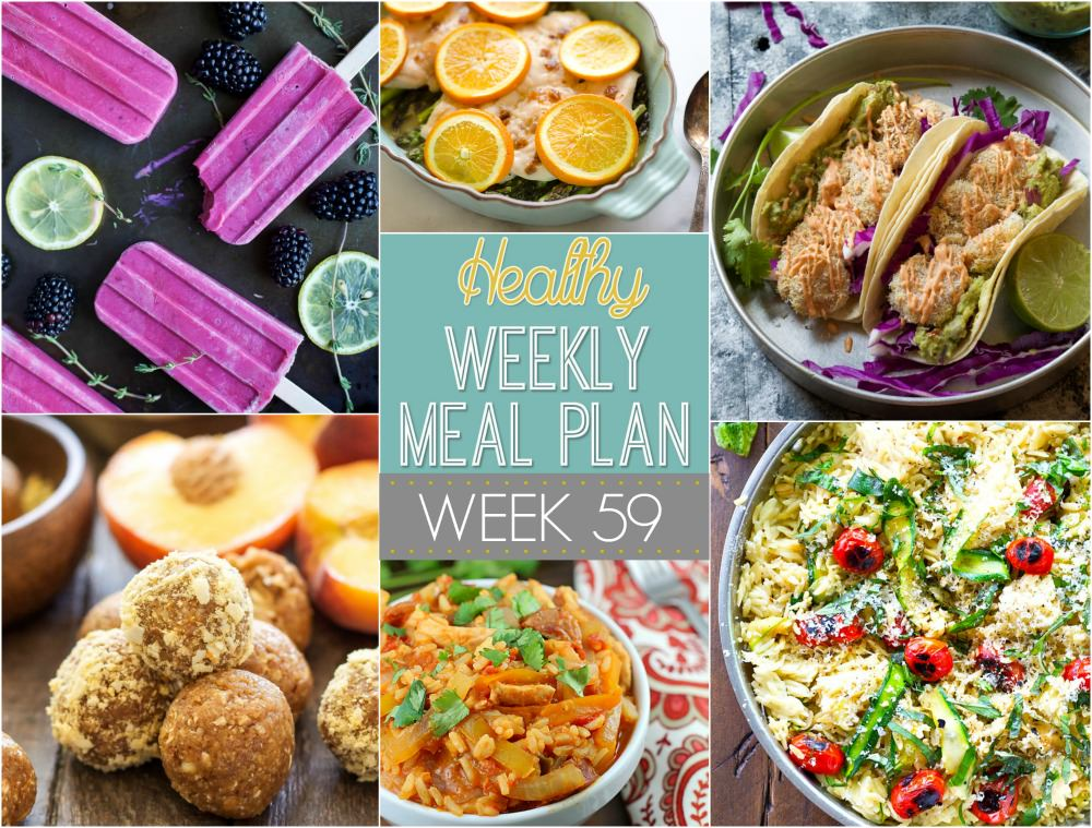 This week's healthy meal plan is savoring the last days of summer with a veggie-loaded orzo skillet, grilled zucchini with bruschetta topping and a green bean salad with radishes and bacon!