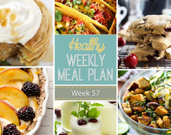Healthy Meal Plan Week 57 is filled with Zucchini Bread Pancakes, Southwestern Grilled Sweet Potato Salad and Garden Vegetable Panzanella Salad!