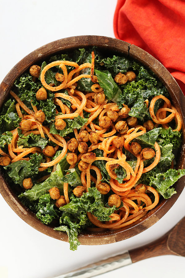 Vegan Kale and Sweet Potato Noodle Salad with Crispy Spiced Chickpeas | Inspiralized