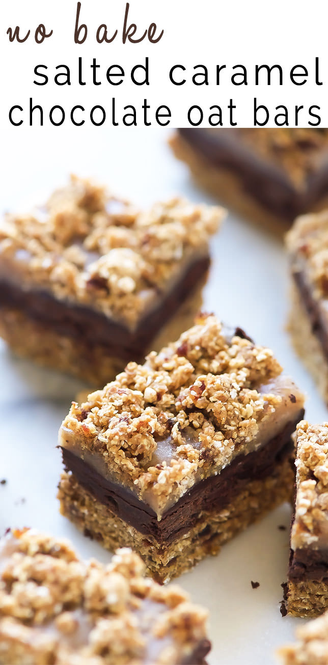 These No Bake Salted Caramel Chocolate Oat Bars come together with only 9 wholesome ingredients and are refined sugar-free! They have a cookie dough-like crust, fudge chocolate, salted caramel and sprinkled with sea salt, all for only 150 calories!