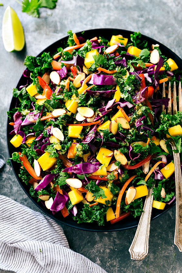 Orange Ginger Kale Salad with Chicken Veggie Kabobs | Chelsea's Messy Apron