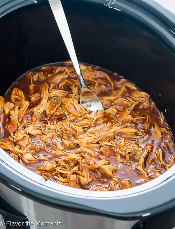 Easy Slow Cooker BBQ Pulled Chicken | Flavor the Moments