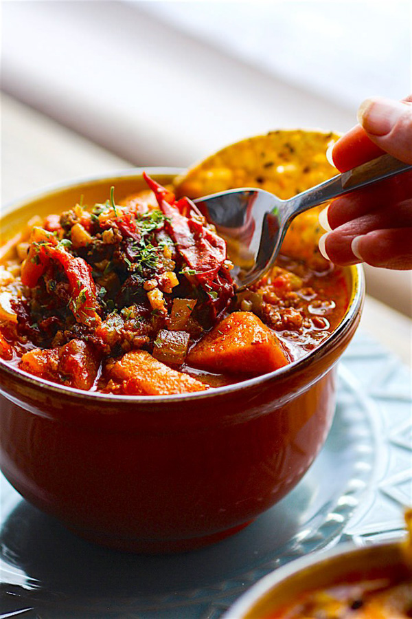 Crock Pot Sweet Potato Chipotle Chili | Cotter's Crunch