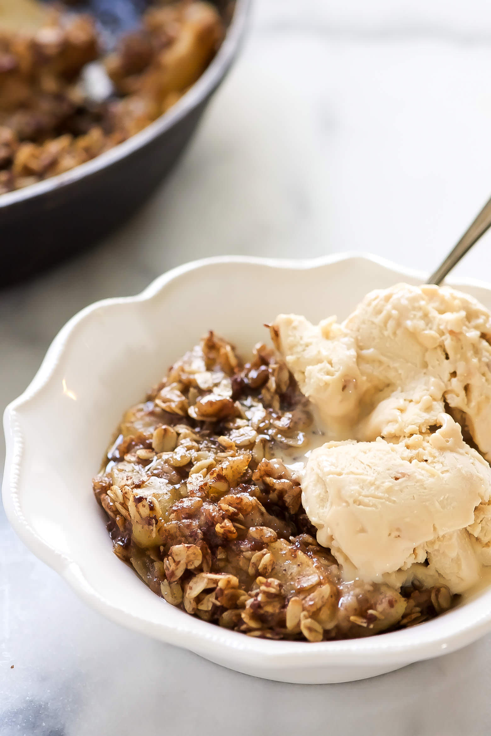 This Caramel Apple Crisp is filled with a gooey, naturally sweetened caramel sauce and topped with a wholesome oat topping! With only 8 ingredients, this secretly healthier dessert will be on repeat all season long!