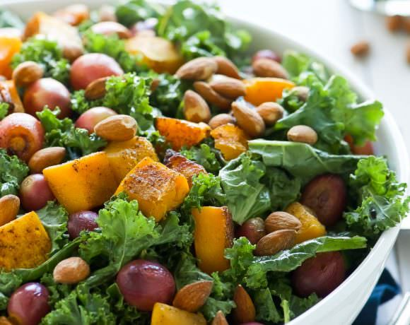 Massaged Kale Salad with Butternut Squash and Roasted Grapes