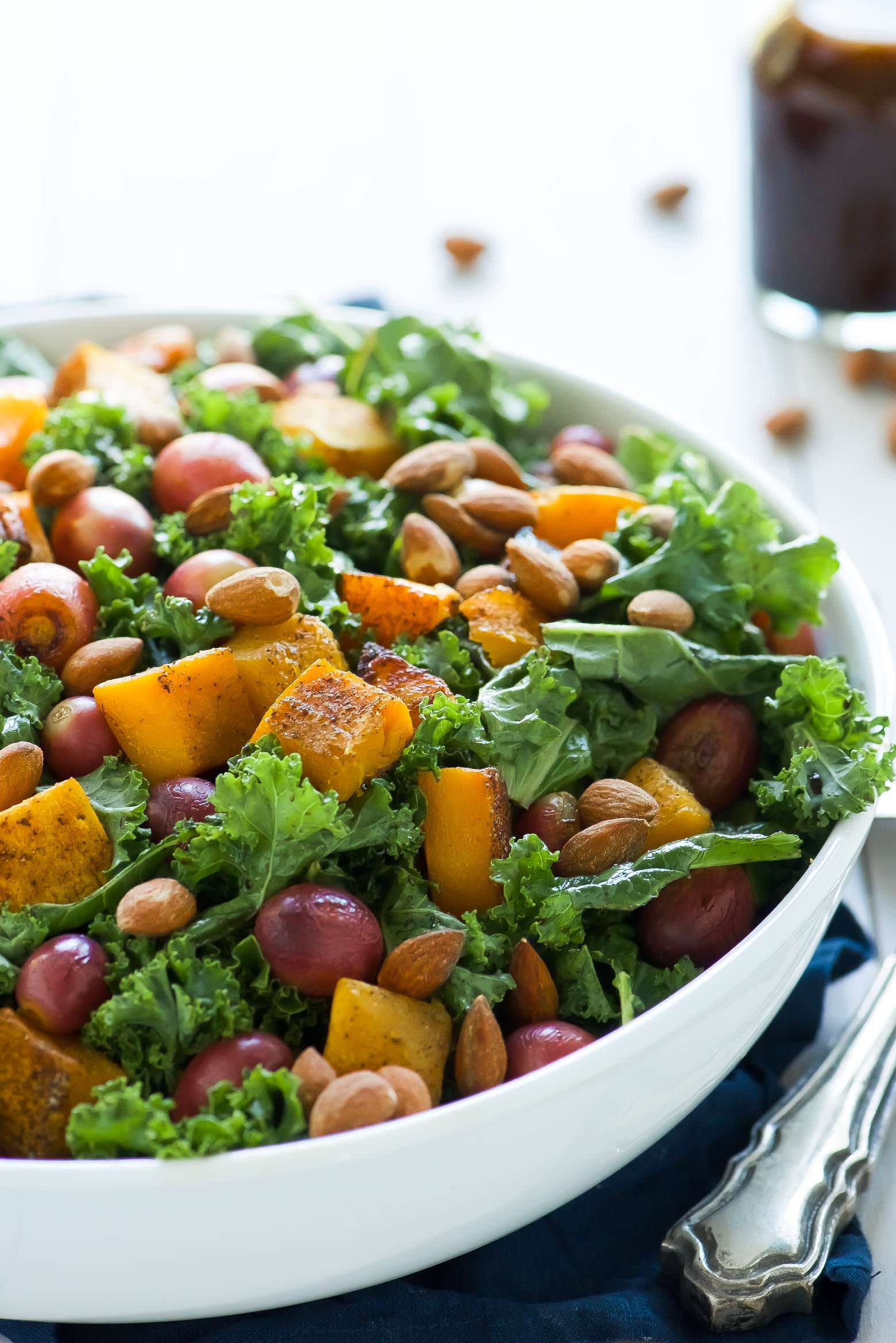 ... squash farro salad kale salad with butternut squash and almonds