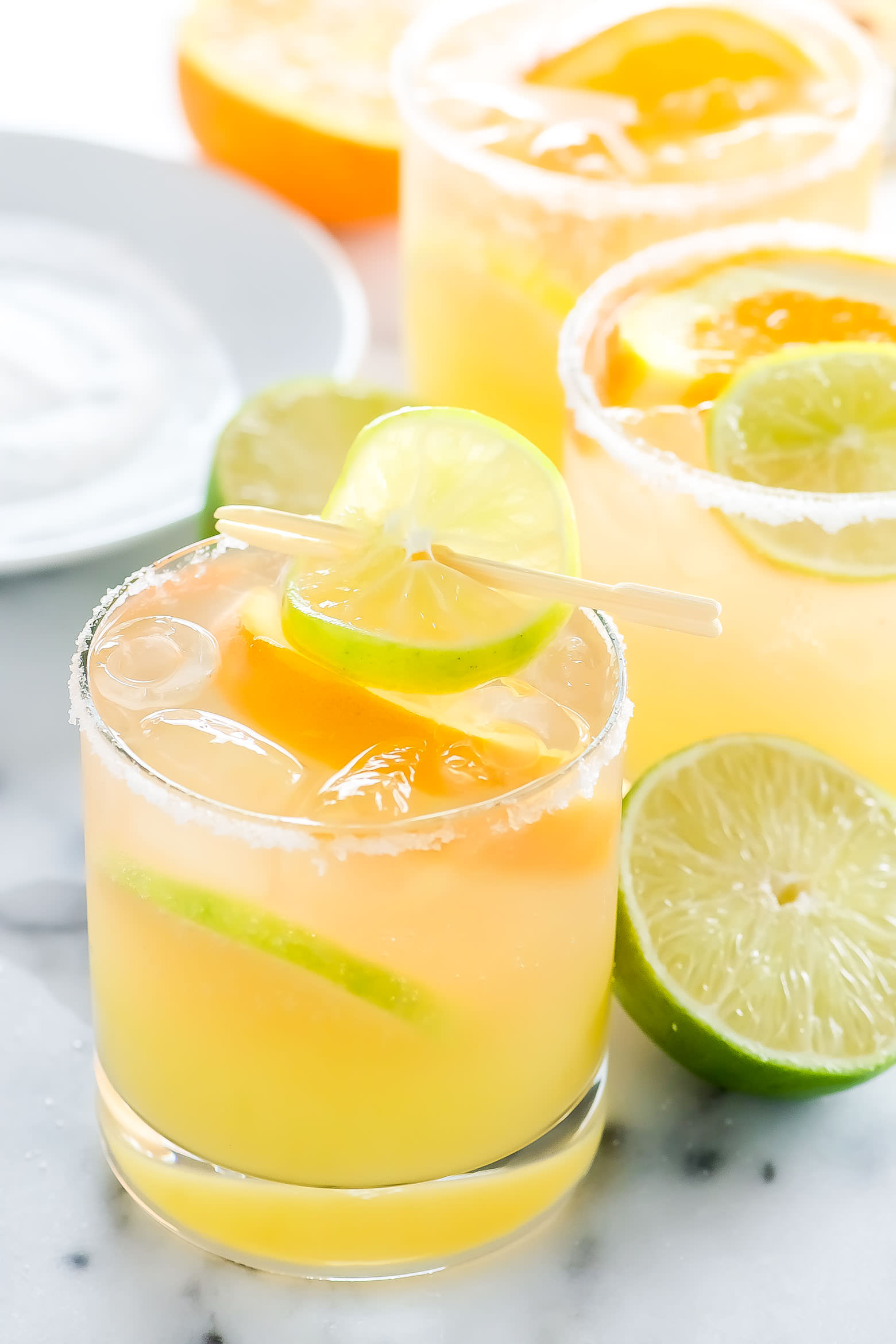 Rose Sangarita is for those moments when you can't decide between a fruity sangria and salty margarita! Tequila Blanco, mixed with fresh orange and lime juice then finished off with sparkling rose!