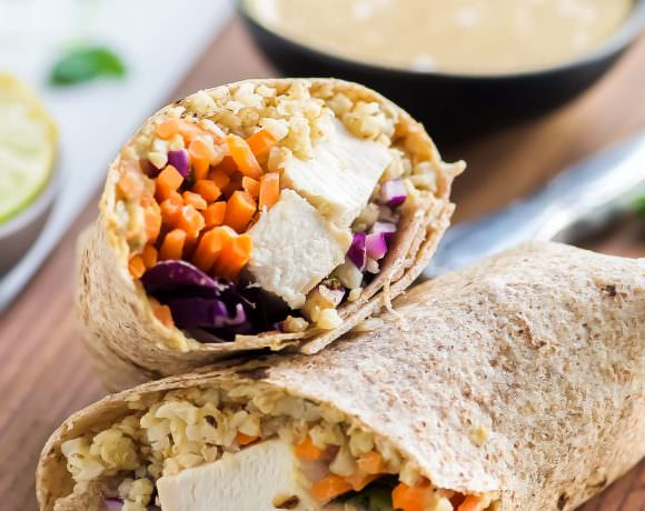 Thai Style Peanut Chicken Cauliflower Rice Wraps
